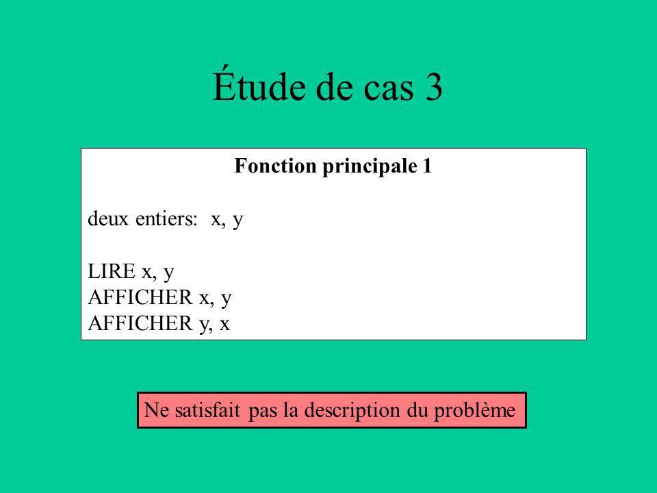 Étude de cas 3 Fonction principale 1 deux entiers: x, y LIRE x, y AFFICHER x, y AFFICHER y, x Ne satisfait pas la description du problème