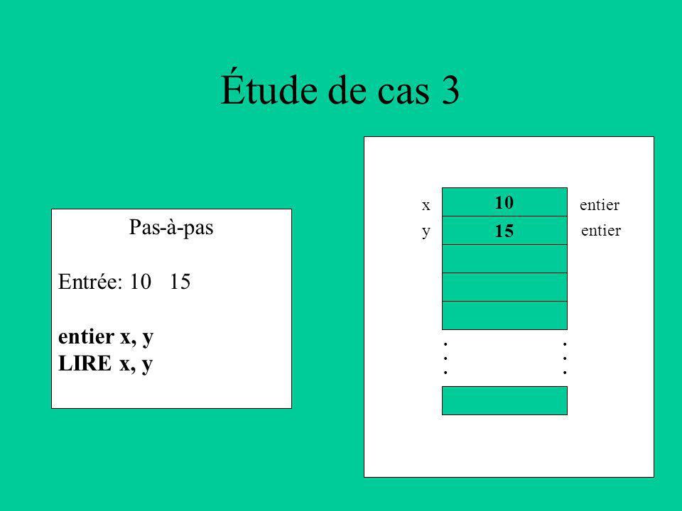Étude de cas 3 Pas-à-pas Entrée: 10 15 entier x, y LIRE x, y 10 15............ x y entier