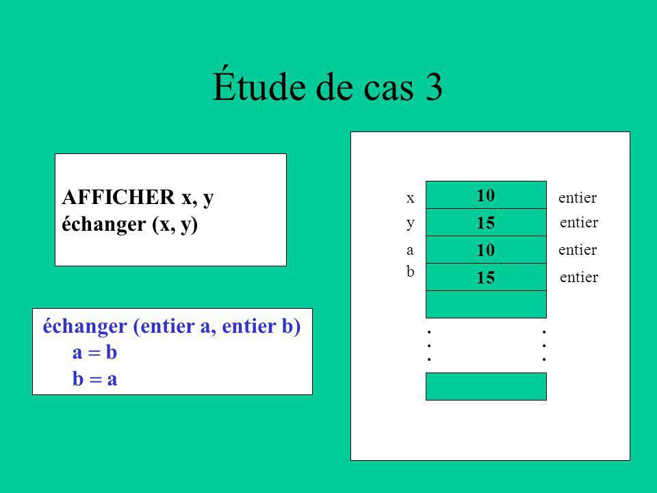 Étude de cas 3 AFFICHER x, y échanger (x, y) 10 15............