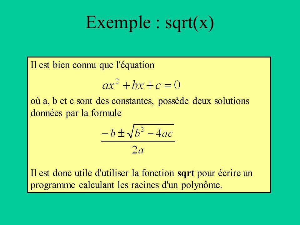 Il est bien connu que l équation où a, b et c sont des constantes, possède deux solutions données par la formule Il est donc utile d utiliser la fonction sqrt pour écrire un programme calculant les racines d un polynôme.