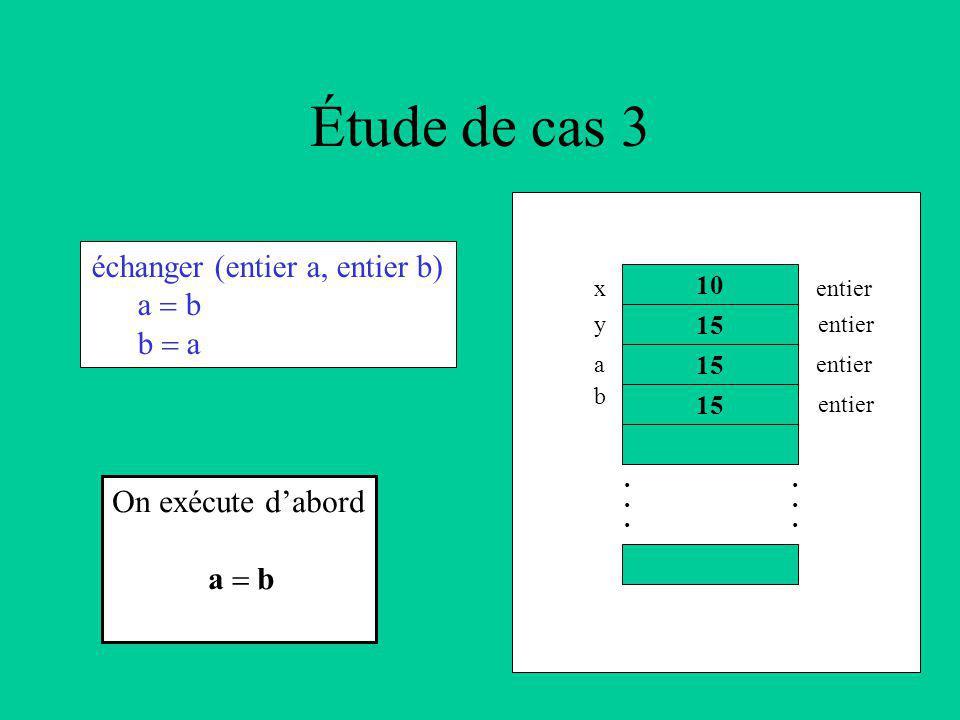 Étude de cas 3 échanger (entier a, entier b) a b b a 10 15............