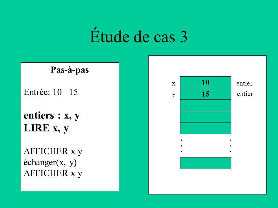 Étude de cas 3 Pas-à-pas Entrée: 10 15 entiers : x, y LIRE x, y AFFICHER x y échanger(x, y) AFFICHER x y 10 15............