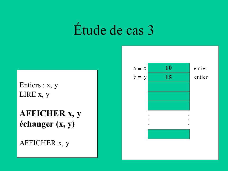Étude de cas 3 Entiers : x, y LIRE x, y AFFICHER x, y échanger (x, y) AFFICHER x, y 10 15............