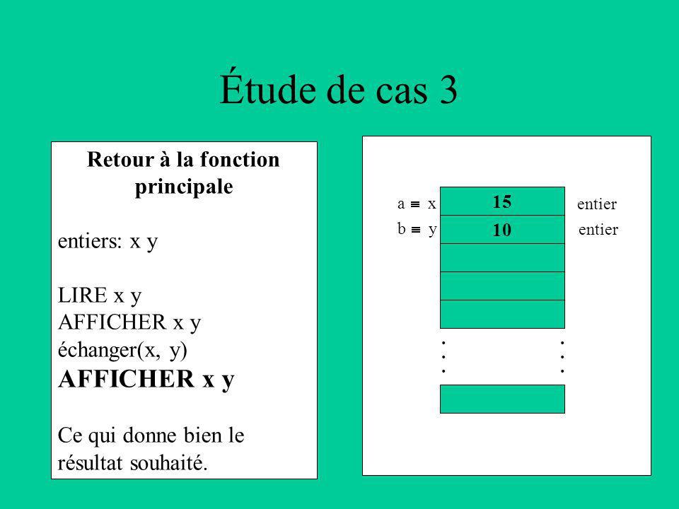Retour à la fonction principale entiers: x y LIRE x y AFFICHER x y échanger(x, y) AFFICHER x y Ce qui donne bien le résultat souhaité.
