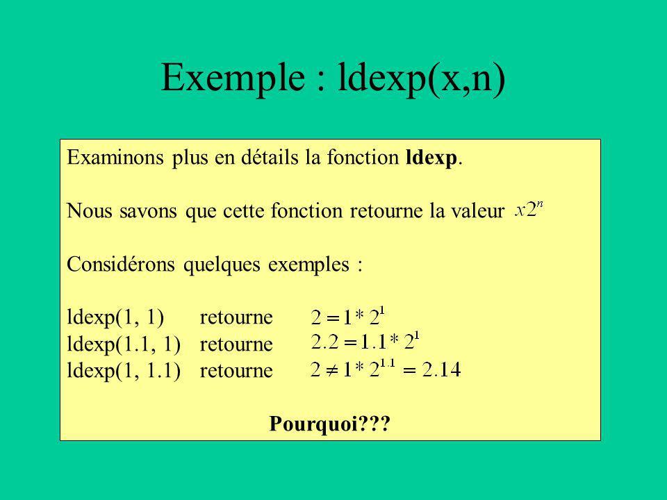 Examinons plus en détails la fonction ldexp.