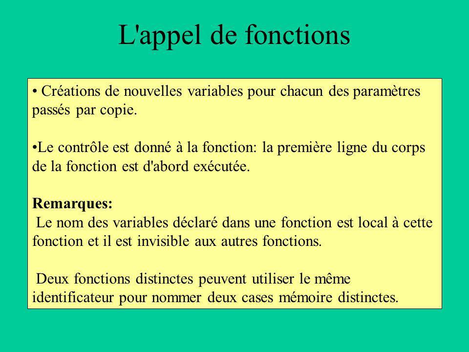 L appel de fonctions Créations de nouvelles variables pour chacun des paramètres passés par copie.
