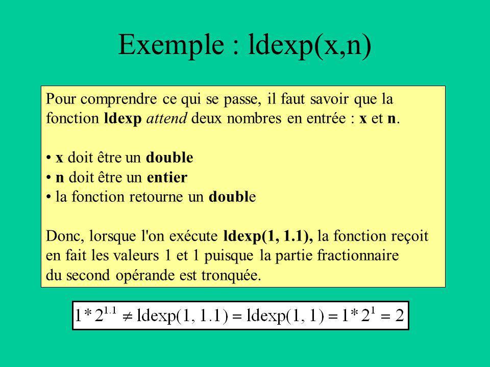 Pour comprendre ce qui se passe, il faut savoir que la fonction ldexp attend deux nombres en entrée : x et n.
