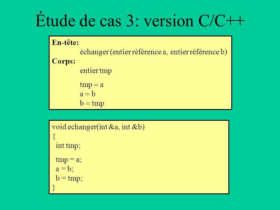 Étude de cas 3: version C/C++ En-tête: échanger (entier référence a, entier référence b) Corps: entier tmp tmp a a b b tmp void echanger(int &a, int &b) { int tmp; tmp = a; a = b; b = tmp; }