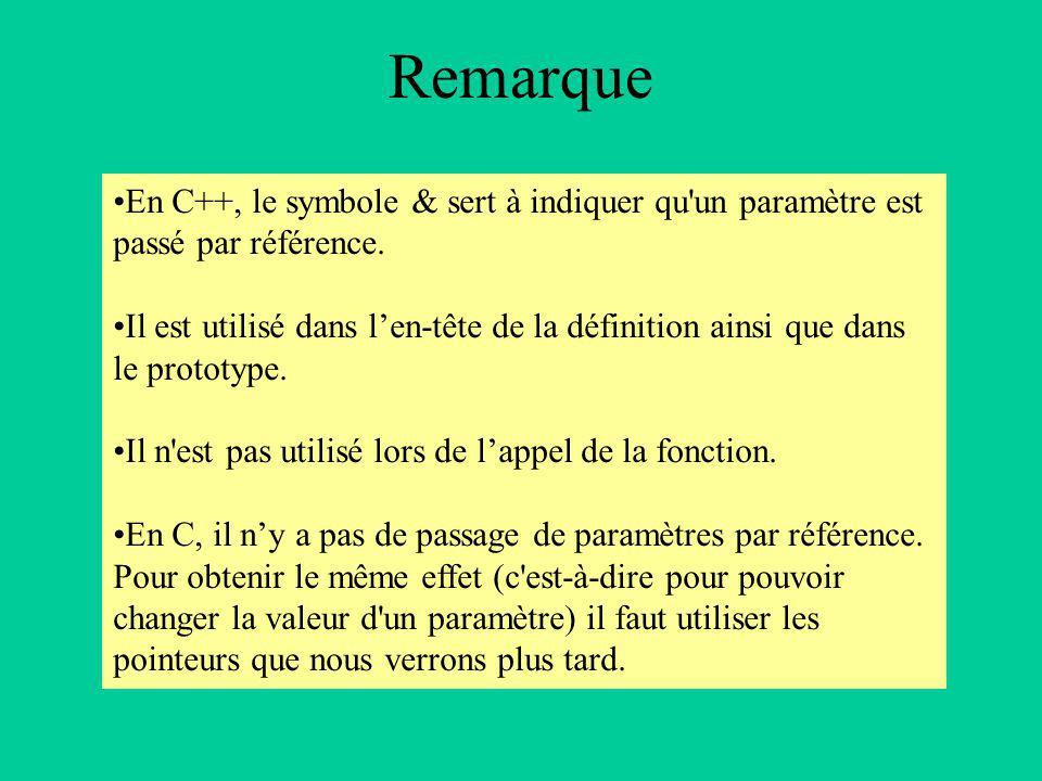 Remarque En C++, le symbole & sert à indiquer qu un paramètre est passé par référence.