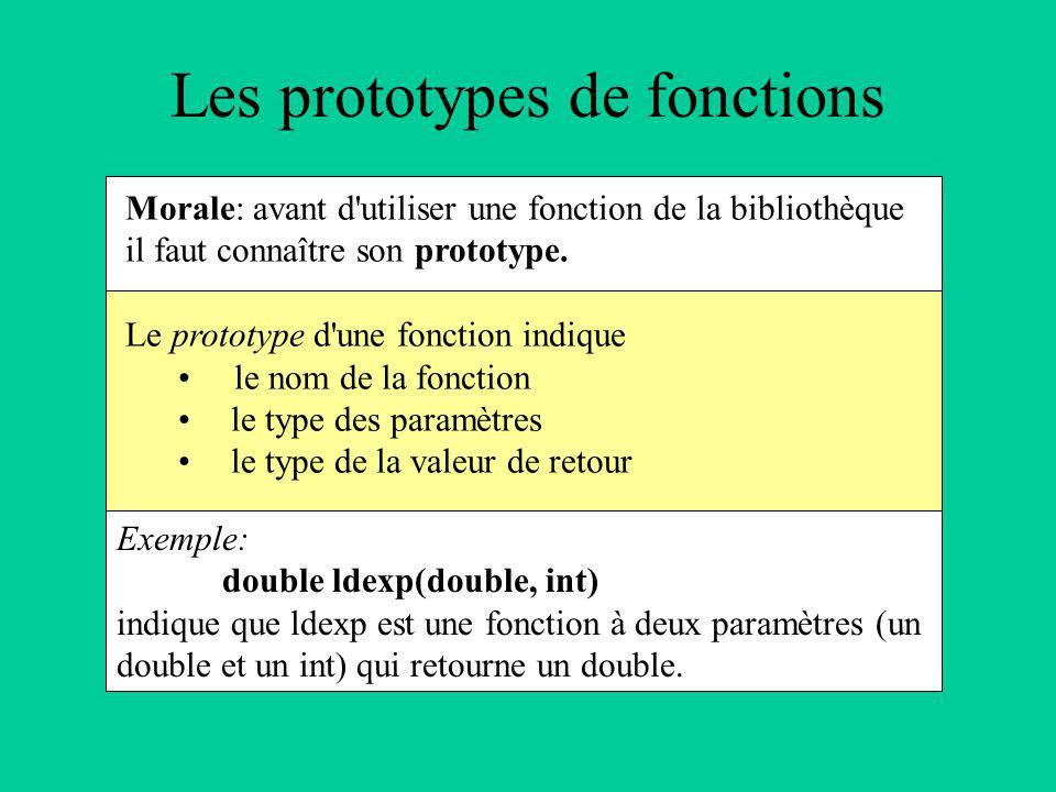 Morale: avant d utiliser une fonction de la bibliothèque il faut connaître son prototype.