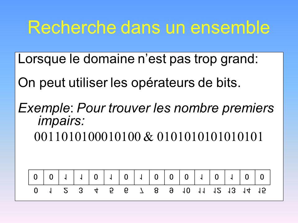 Recherche dans un ensemble Lorsque le domaine nest pas trop grand: On peut utiliser les opérateurs de bits. Exemple: Pour trouver les nombre premiers