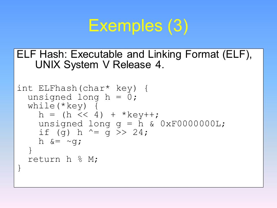 Exemples (3) ELF Hash: Executable and Linking Format (ELF), UNIX System V Release 4.