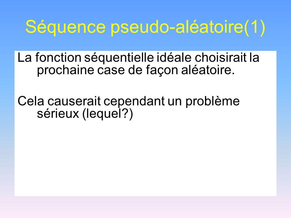 Séquence pseudo-aléatoire(1) La fonction séquentielle idéale choisirait la prochaine case de façon aléatoire. Cela causerait cependant un problème sér