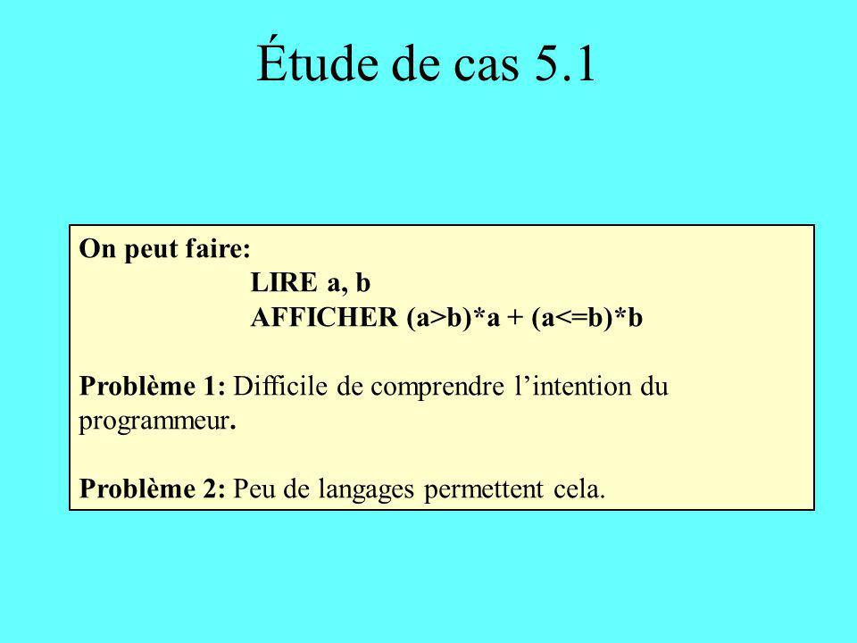 Étude de cas 5.2 Fonction max3 En-tête: max3 (entier a, entier b, entier c) retourne un entier Corps: SI ((a >b) ET (a > c)) ALORS retourner a SINON SI (b est la plus grande des trois valeurs) ALORS retourner b SINON retourner c