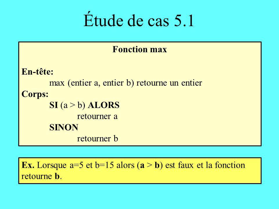 Étude de cas 5.2 Fonction max3: seconde solution En-tête: max3 (entier a, entier b, entier c) retourne un entier Corps: entier maximum maximum a SI (b > maximum) ALORS maximum b SI (c > maximum) ALORS maximum c retourner maximum Remarquez labsence de sinon