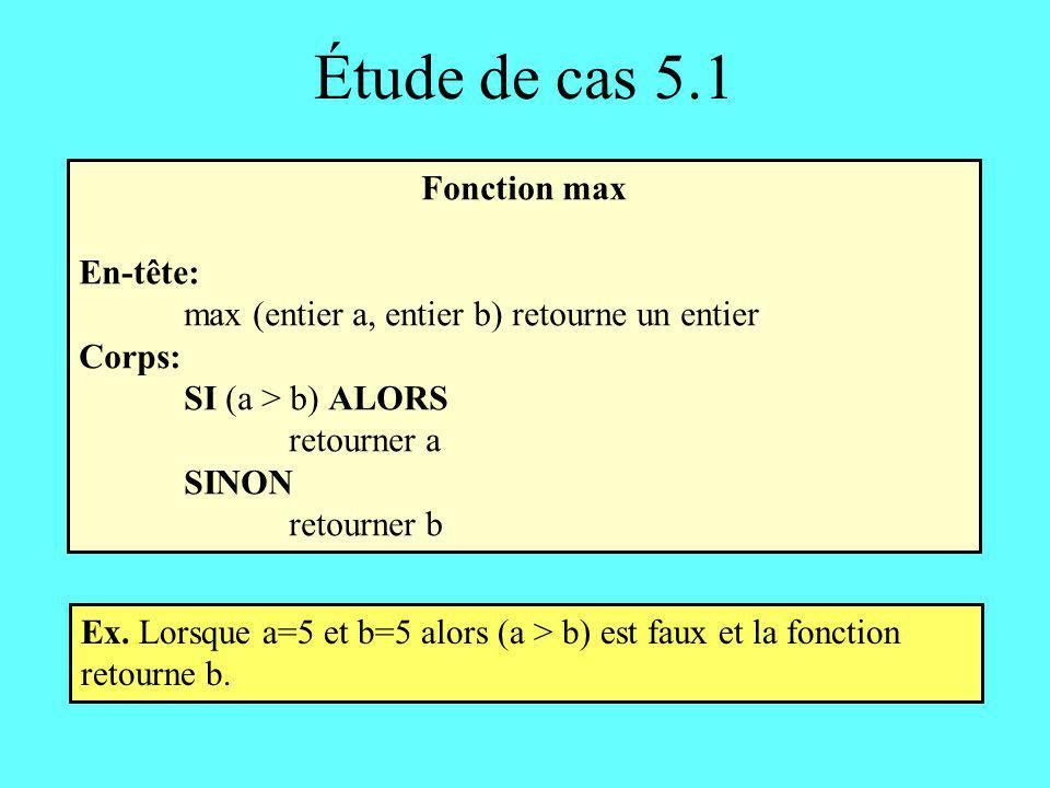 Étude de cas 5.2 Fonction max3: troisième solution En-tête: max3 (entier a, entier b, entier c) retourne un entier Corps: entiers: maximum maximum max(a,b) maximum max(maximum, c) retourner maximum où max est la fonction définie dans létude de cas 5.1