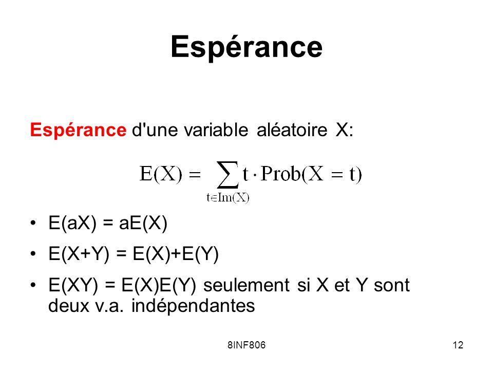 8INF80612 Espérance Espérance d une variable aléatoire X: E(aX) = aE(X) E(X+Y) = E(X)+E(Y) E(XY) = E(X)E(Y) seulement si X et Y sont deux v.a.