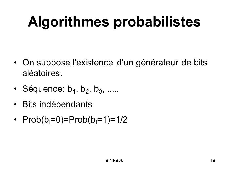 8INF80618 Algorithmes probabilistes On suppose l existence d un générateur de bits aléatoires.