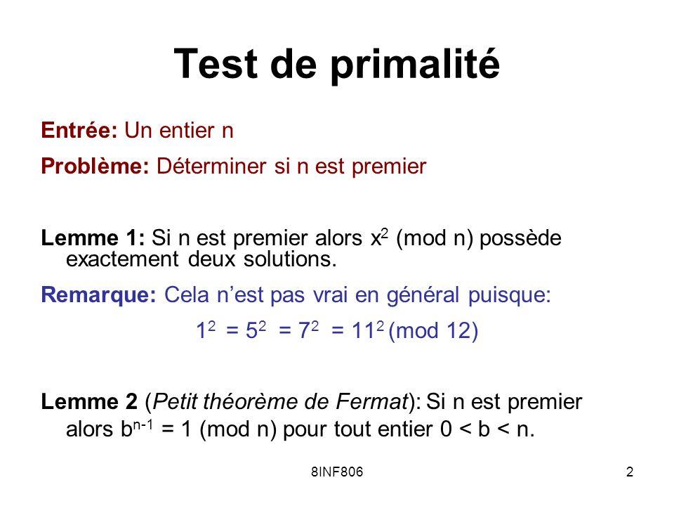 8INF80633 RP et NP r 1, r 2, r 3,…, r k RP=RP(1/2): –Si w L alors pour plus de la moitié des i on a r i 1 –Si w L alors pour tous les i on a r i =0 NP: –Si w L alors pour au moins un i on a r i = 1 –Si w L alors pour tous les i on a r i =0
