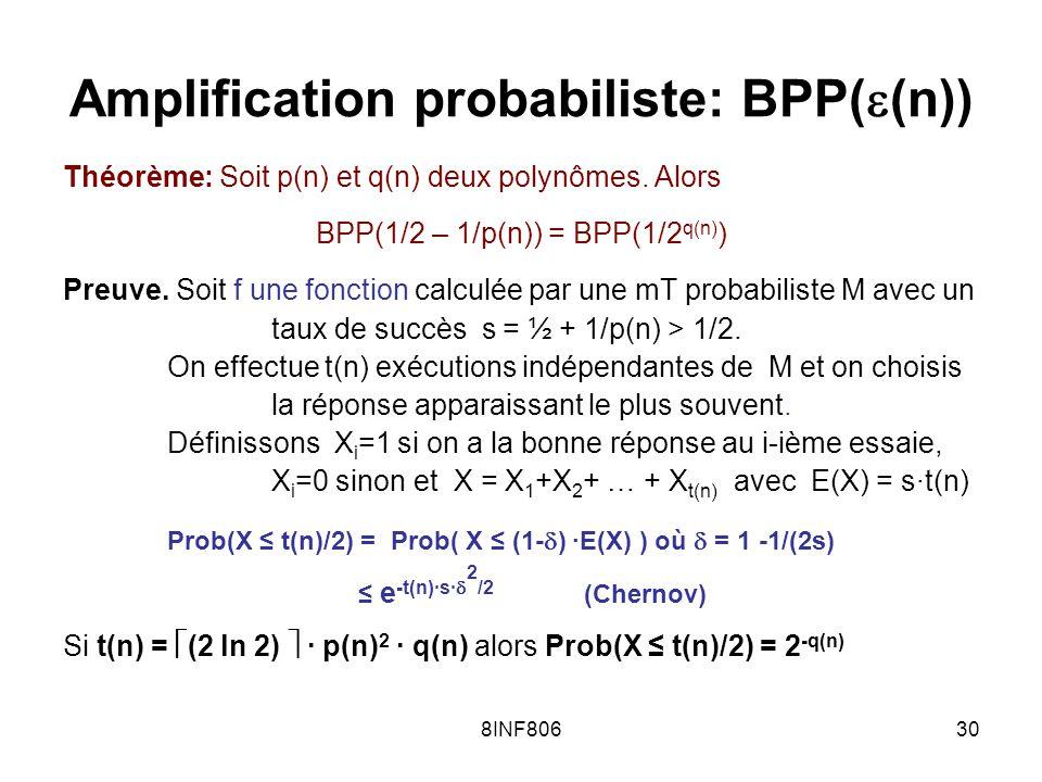 8INF80630 Amplification probabiliste: BPP( (n)) Théorème: Soit p(n) et q(n) deux polynômes.