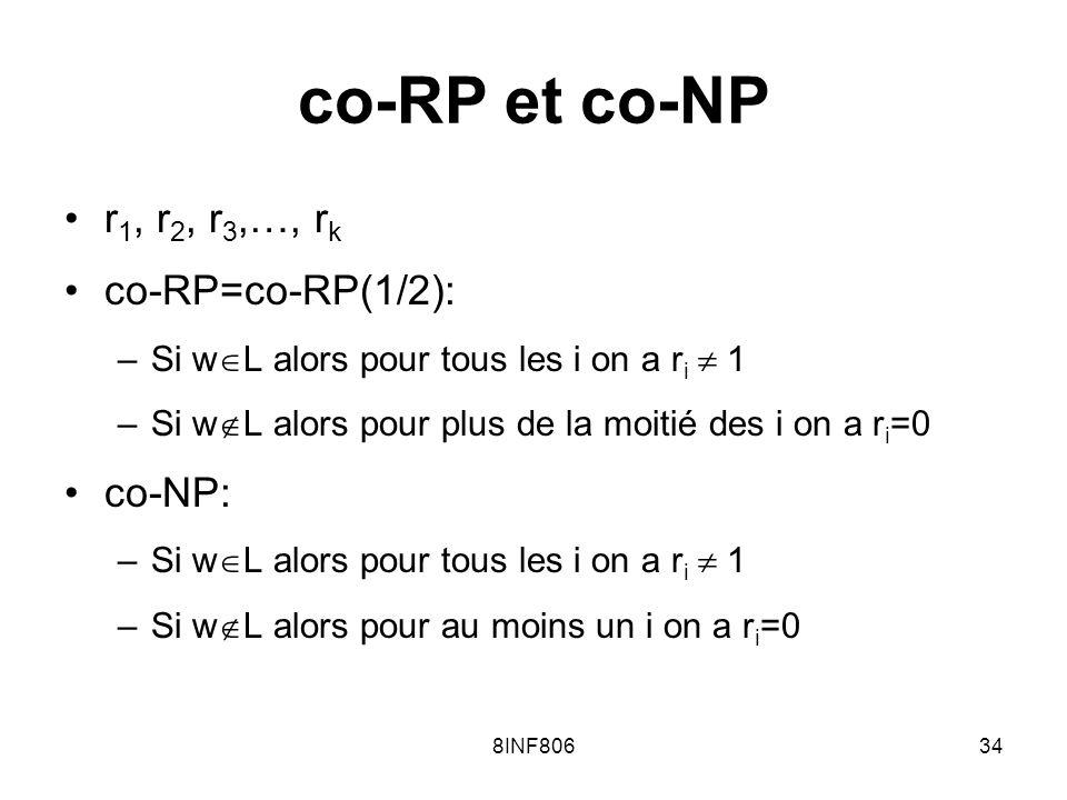 8INF80634 co-RP et co-NP r 1, r 2, r 3,…, r k co-RP=co-RP(1/2): –Si w L alors pour tous les i on a r i 1 –Si w L alors pour plus de la moitié des i on a r i =0 co-NP: –Si w L alors pour tous les i on a r i 1 –Si w L alors pour au moins un i on a r i =0
