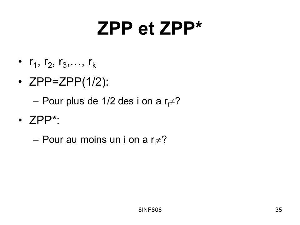 8INF80635 ZPP et ZPP* r 1, r 2, r 3,…, r k ZPP=ZPP(1/2): –Pour plus de 1/2 des i on a r i .