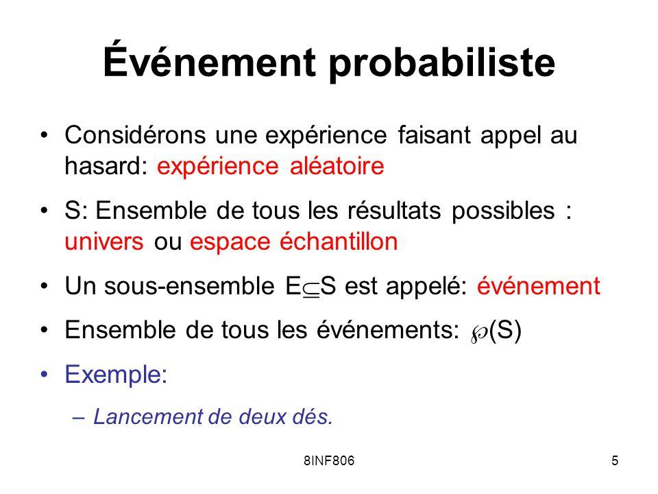 8INF8065 Événement probabiliste Considérons une expérience faisant appel au hasard: expérience aléatoire S: Ensemble de tous les résultats possibles : univers ou espace échantillon Un sous-ensemble E S est appelé: événement Ensemble de tous les événements: (S) Exemple: –Lancement de deux dés.