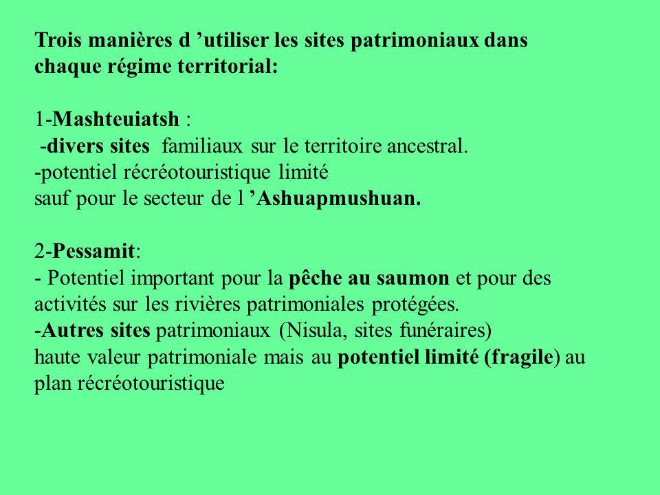 Trois manières d utiliser les sites patrimoniaux dans chaque régime territorial: 1-Mashteuiatsh : -divers sites familiaux sur le territoire ancestral.