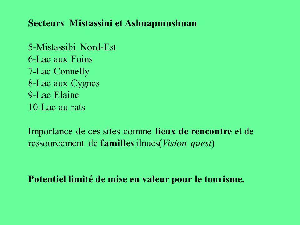 Secteurs Mistassini et Ashuapmushuan 5-Mistassibi Nord-Est 6-Lac aux Foins 7-Lac Connelly 8-Lac aux Cygnes 9-Lac Elaine 10-Lac au rats Importance de c