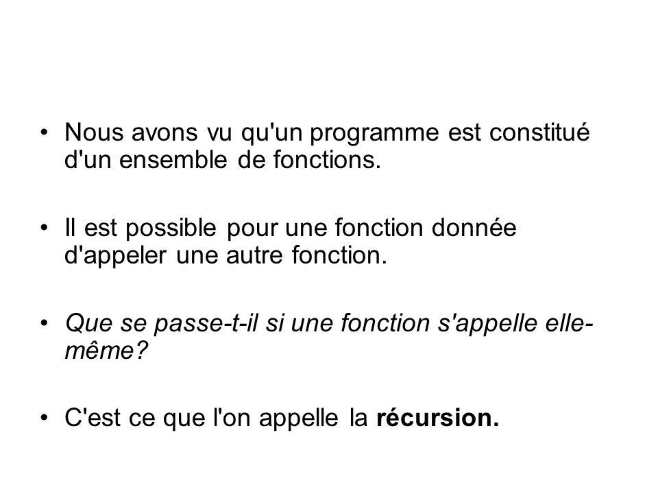 Nous avons vu qu un programme est constitué d un ensemble de fonctions.