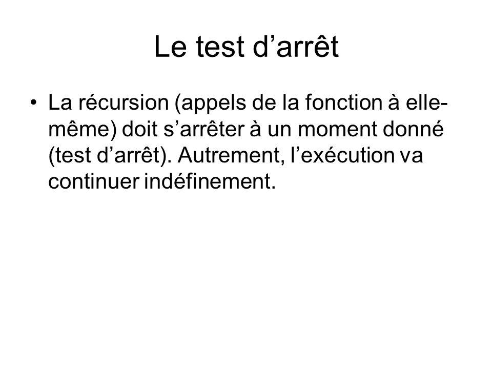 Le test darrêt La récursion (appels de la fonction à elle- même) doit sarrêter à un moment donné (test darrêt).
