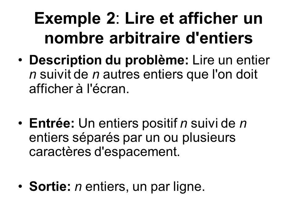 Exemple 2: Lire et afficher un nombre arbitraire d entiers Description du problème: Lire un entier n suivit de n autres entiers que l on doit afficher à l écran.