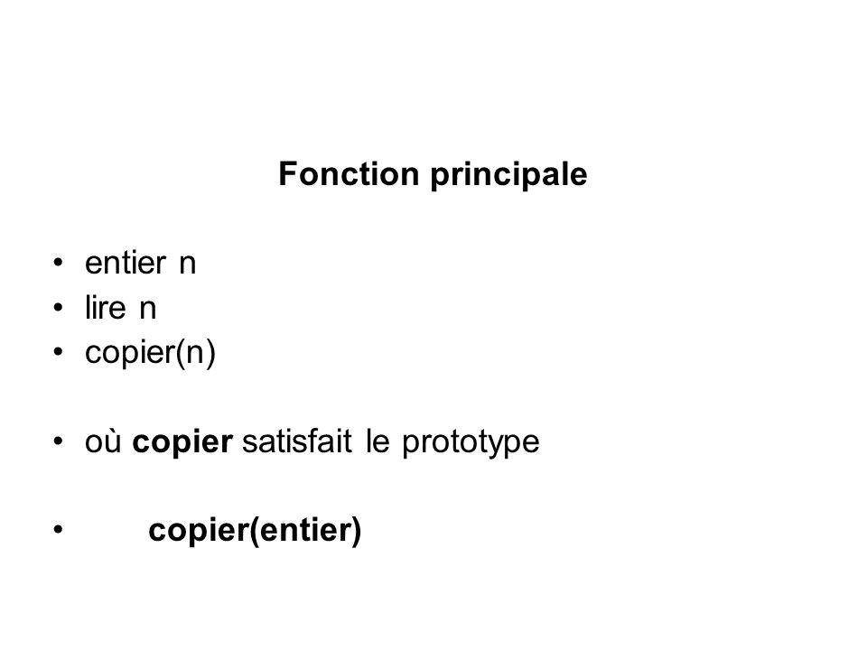 Fonction principale entier n lire n copier(n) où copier satisfait le prototype copier(entier)