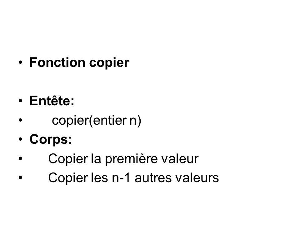 Fonction copier Entête: copier(entier n) Corps: Copier la première valeur Copier les n-1 autres valeurs