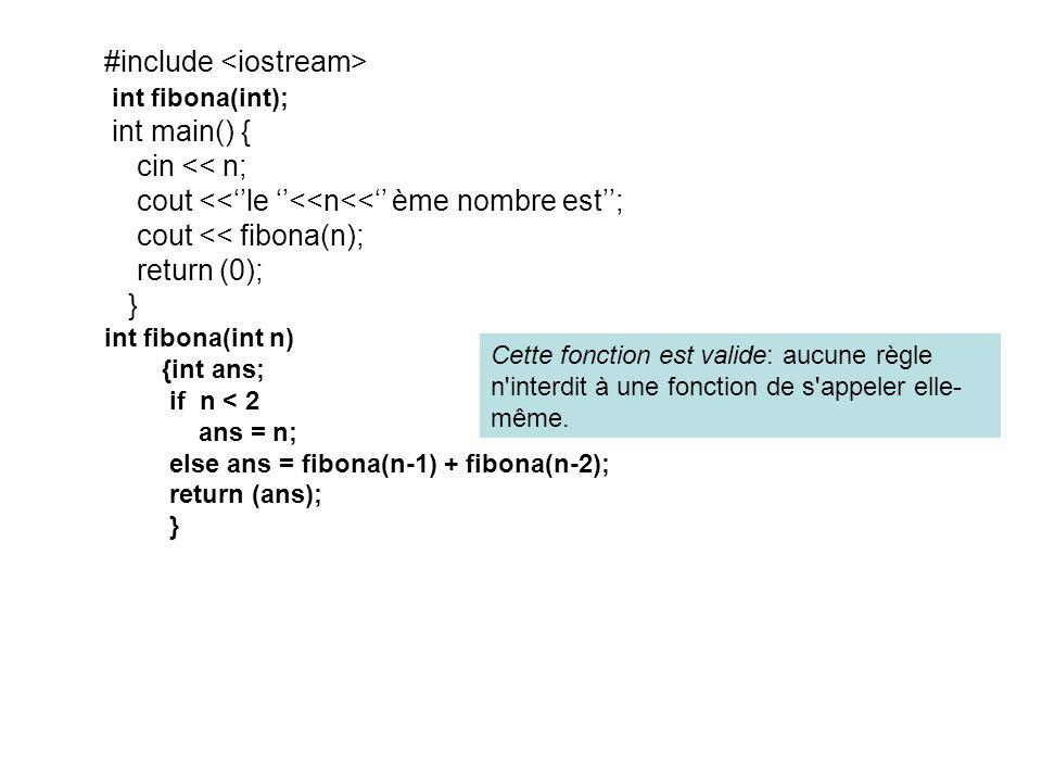 #include int fibona(int); int main() { cin << n; cout <<le <<n<< ème nombre est; cout << fibona(n); return (0); } int fibona(int n) {int ans; if n < 2 ans = n; else ans = fibona(n-1) + fibona(n-2); return (ans); } Cette fonction est valide: aucune règle n interdit à une fonction de s appeler elle- même.