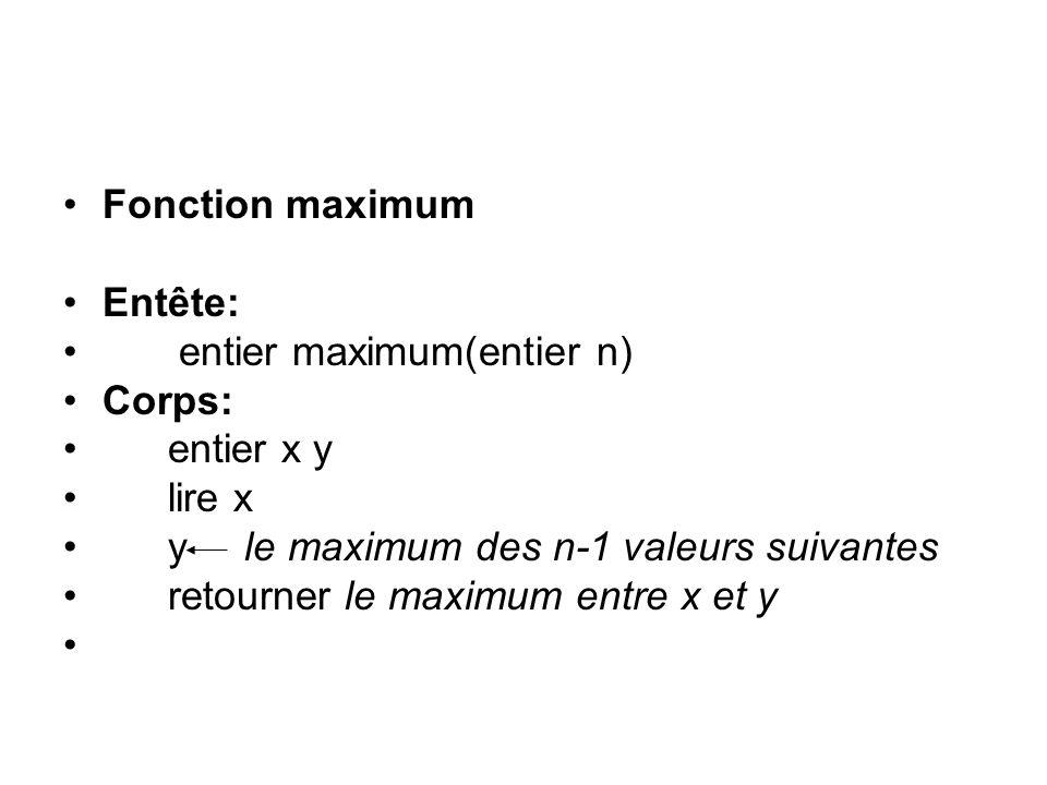 Fonction maximum Entête: entier maximum(entier n) Corps: entier x y lire x y le maximum des n-1 valeurs suivantes retourner le maximum entre x et y