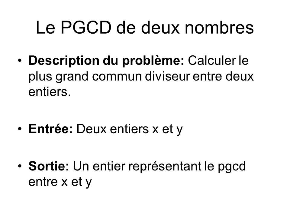 Le PGCD de deux nombres Description du problème: Calculer le plus grand commun diviseur entre deux entiers.