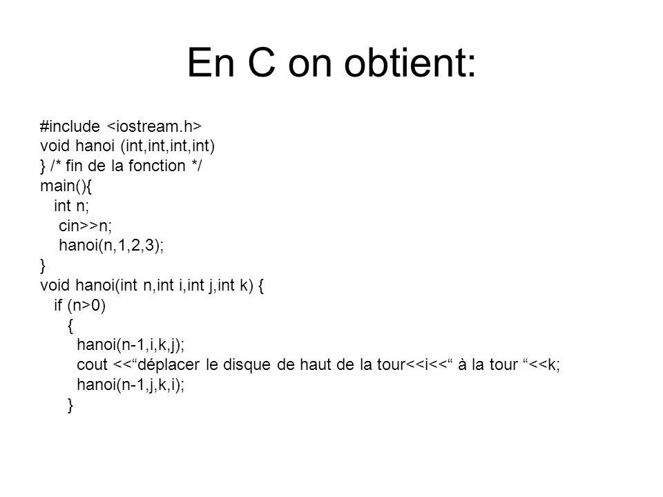 En C on obtient: #include void hanoi (int,int,int,int) } /* fin de la fonction */ main(){ int n; cin>>n; hanoi(n,1,2,3); } void hanoi(int n,int i,int j,int k) { if (n>0) { hanoi(n-1,i,k,j); cout <<déplacer le disque de haut de la tour<<i<< à la tour <<k; hanoi(n-1,j,k,i); }