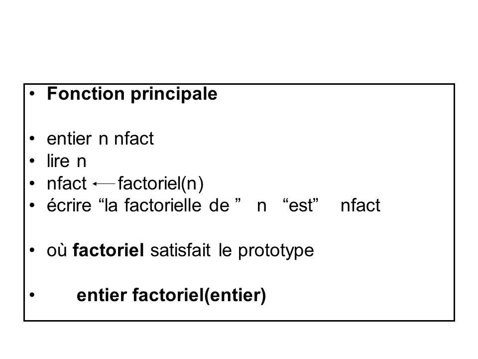 Fonction principale entier n nfact lire n nfact factoriel(n) écrire la factorielle de n est nfact où factoriel satisfait le prototype entier factoriel(entier)