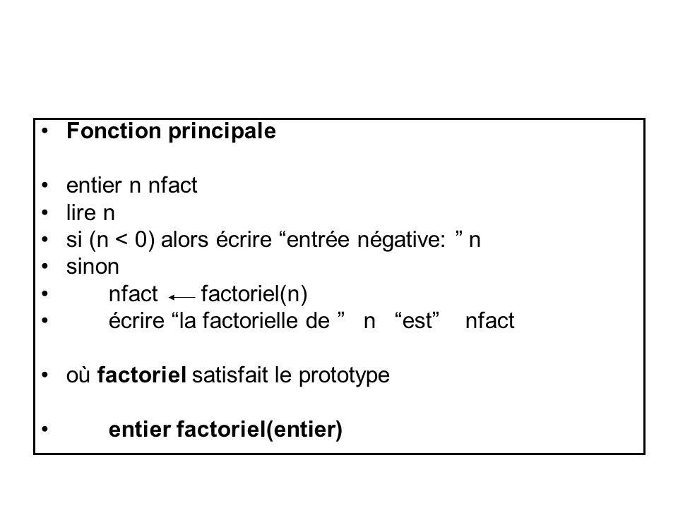 Fonction principale entier n nfact lire n si (n < 0) alors écrire entrée négative: n sinon nfact factoriel(n) écrire la factorielle de n est nfact où factoriel satisfait le prototype entier factoriel(entier)