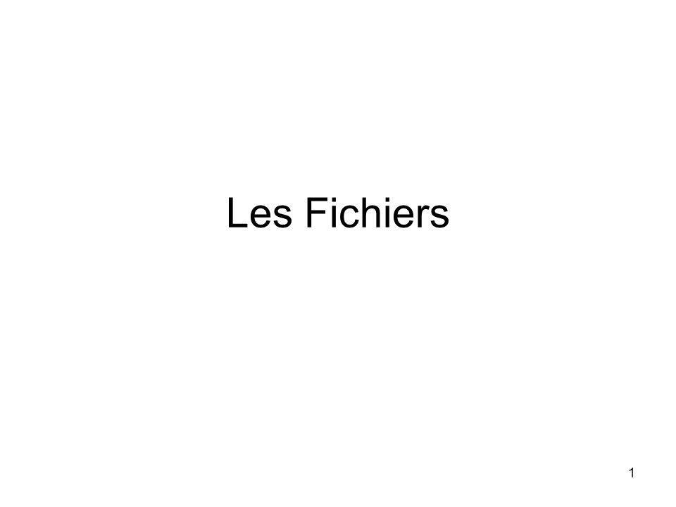 1 Les Fichiers