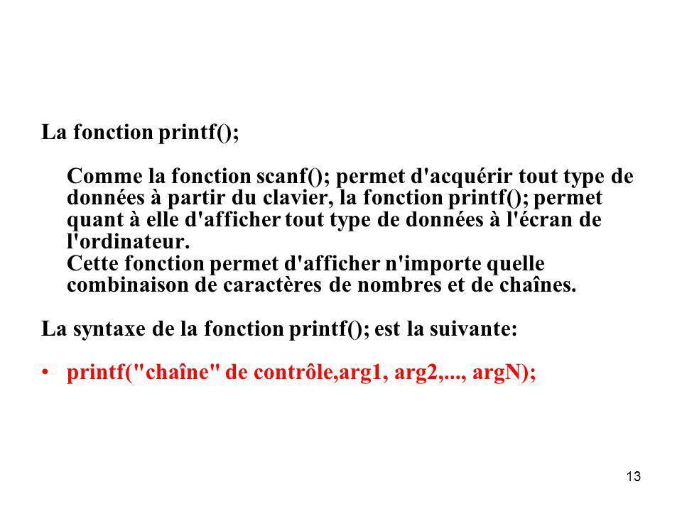 13 La fonction printf(); Comme la fonction scanf(); permet d'acquérir tout type de données à partir du clavier, la fonction printf(); permet quant à e