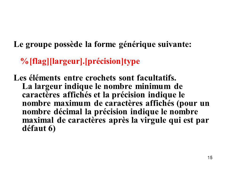 15 Le groupe possède la forme générique suivante: %[flag][largeur].[précision]type Les éléments entre crochets sont facultatifs. La largeur indique le