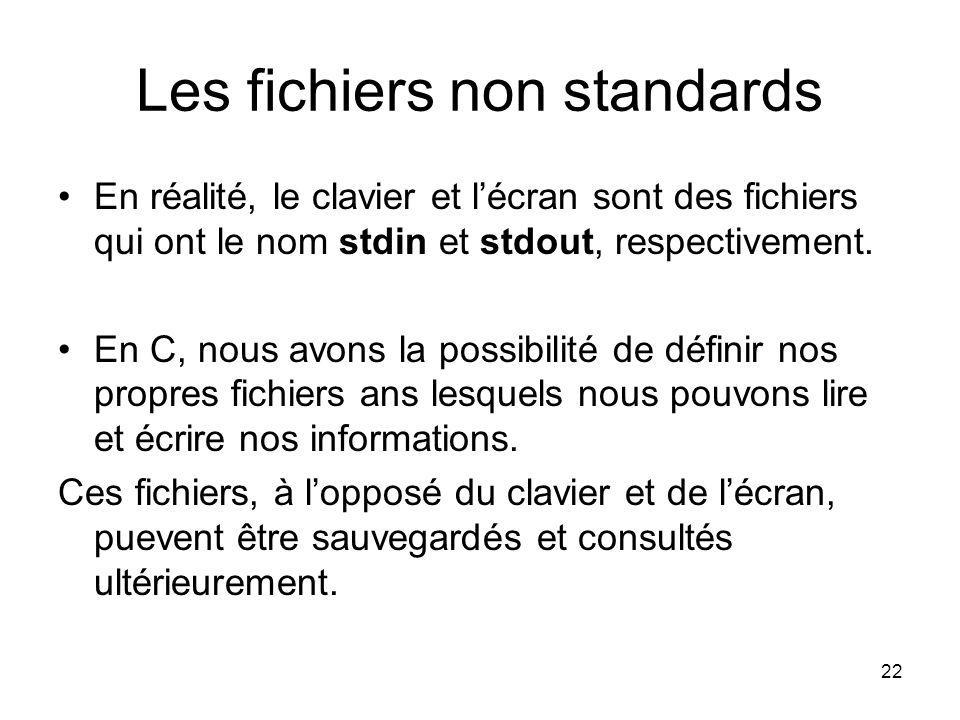 22 Les fichiers non standards En réalité, le clavier et lécran sont des fichiers qui ont le nom stdin et stdout, respectivement. En C, nous avons la p