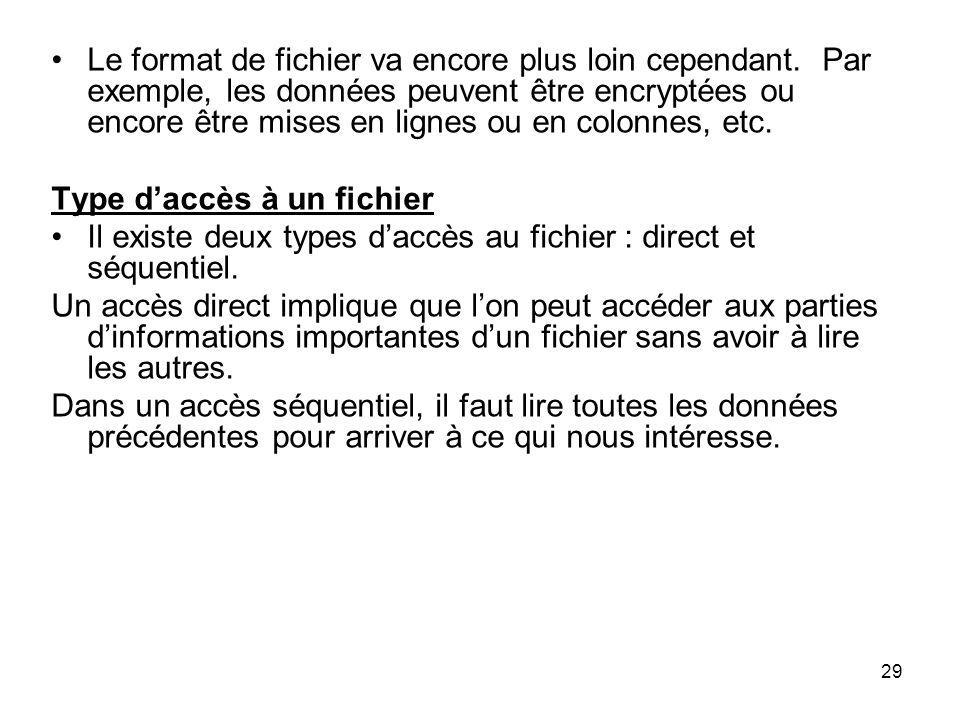 29 Le format de fichier va encore plus loin cependant. Par exemple, les données peuvent être encryptées ou encore être mises en lignes ou en colonnes,