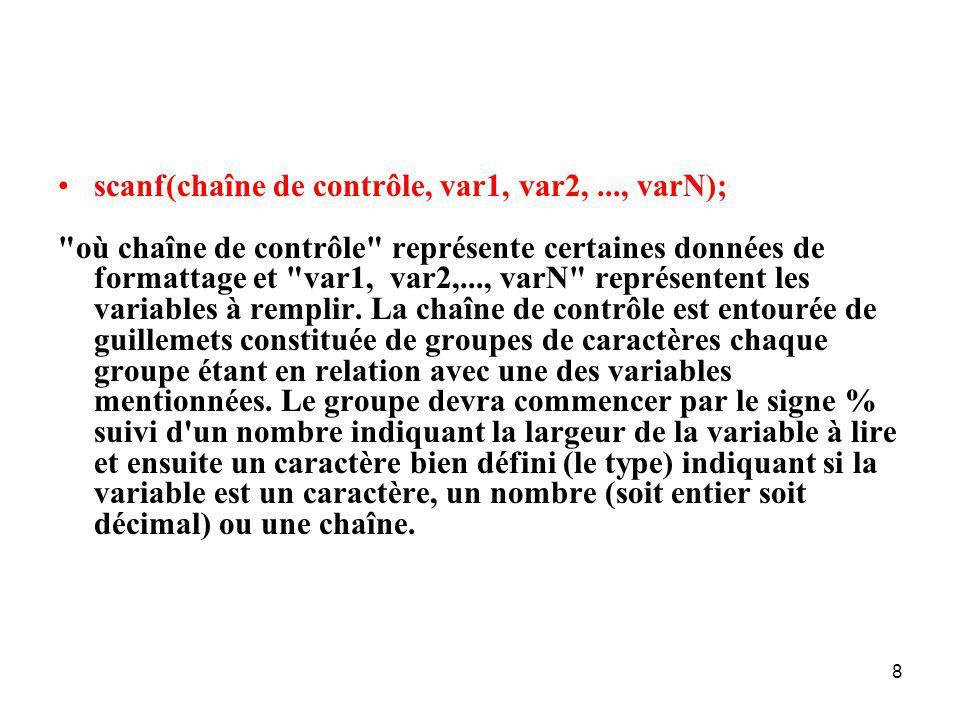 19 float x; double y; x = y = acos((double) -1); printf( Simples flottants %f %e %g\n , x, x, x); printf( Flottants doubles %f %e %g\n , y, y, y); printf( Simples flottants+ %18.12f %18.12e %18.12g\n , x, x, x); printf( Flottants doubles+ %18.12f %18.12e %18.12g\n , y, y, y);