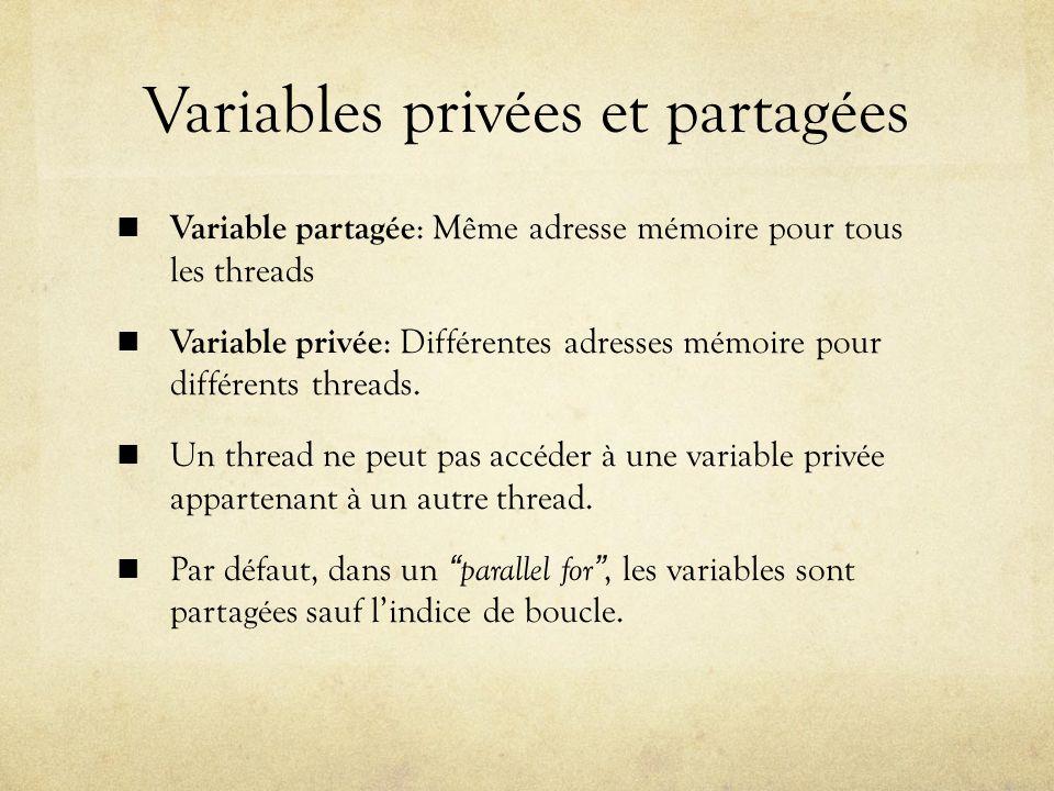 Variables privées et partagées Variable partagée : Même adresse mémoire pour tous les threads Variable privée : Différentes adresses mémoire pour différents threads.
