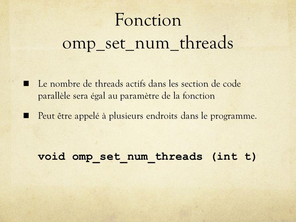 Fonction omp_set_num_threads Le nombre de threads actifs dans les section de code parallèle sera égal au paramètre de la fonction Peut être appelé à plusieurs endroits dans le programme.