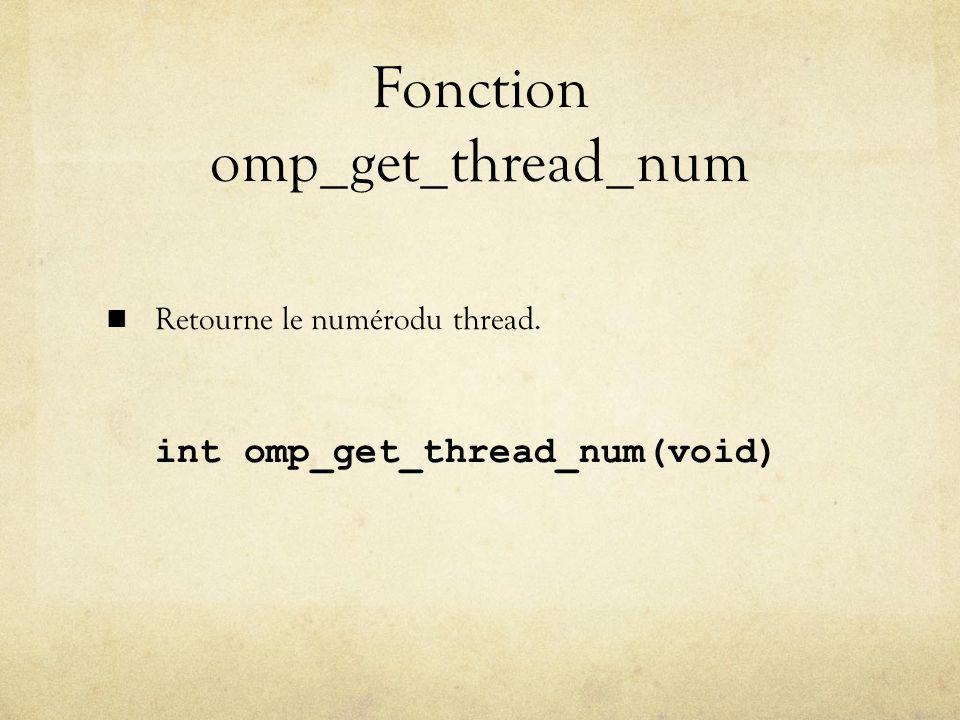 Fonction omp_get_thread_num Retourne le numérodu thread. int omp_get_thread_num(void)