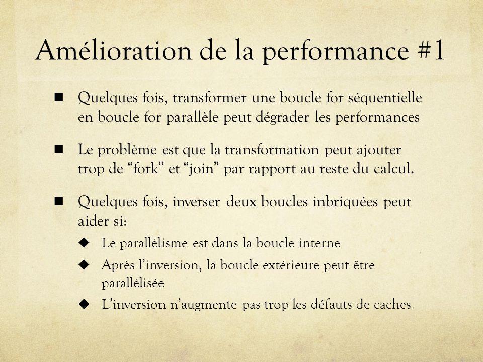 Amélioration de la performance #1 Quelques fois, transformer une boucle for séquentielle en boucle for parallèle peut dégrader les performances Le problème est que la transformation peut ajouter trop de fork et join par rapport au reste du calcul.